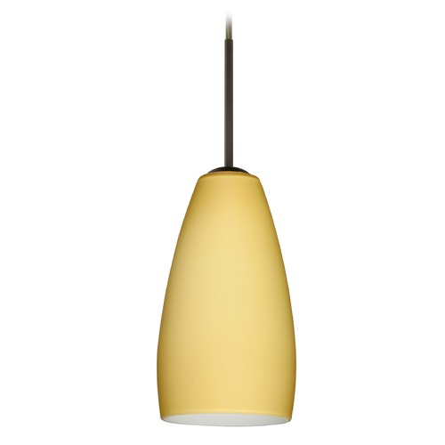 Besa Lighting Besa Lighting Chrissy Bronze Mini-Pendant Light with Conical Shade 1BT-1509VM-BR