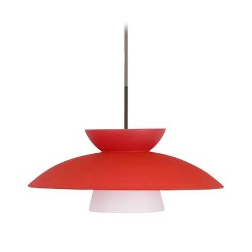 Besa Lighting Modern Pendant Light with Red Glass in Bronze Finish 1JT-451331-BR
