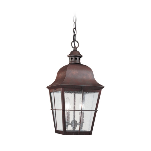Sea Gull Lighting Outdoor Hanging Light with Clear Glass in Weathered Copper Finish 6062-44