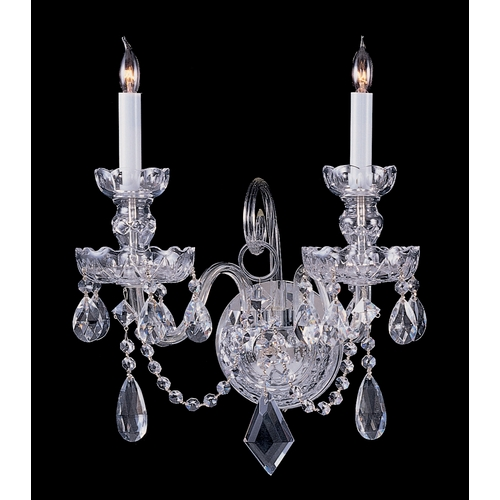 Crystorama Lighting Crystal Sconce Wall Light in Polished Chrome Finish 1142-CH-CL-S