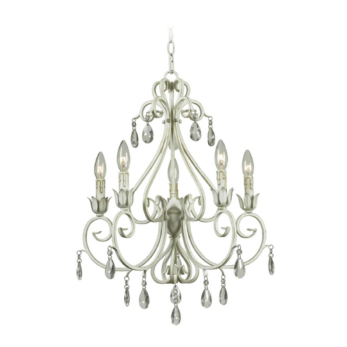 Kenroy Home Lighting Crystal Chandelier in Weathered White Finish 92046WW