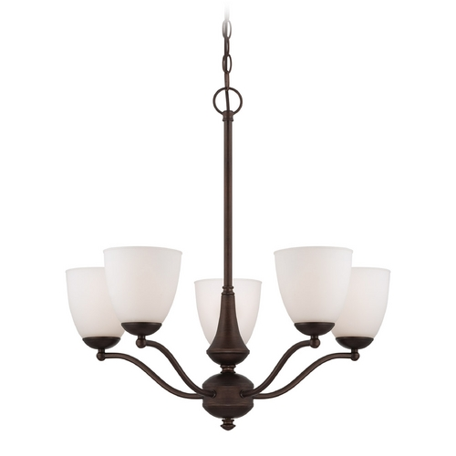 Nuvo Lighting Chandelier with White Glass in Prairie Bronze Finish 60/5155