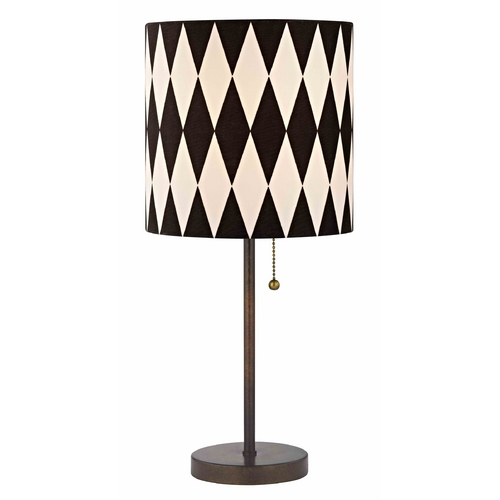 Design Classics Lighting Bronze Pull-Chain Drum Table Lamp with Harlequin Patterned Shade 1900-604 SH9489