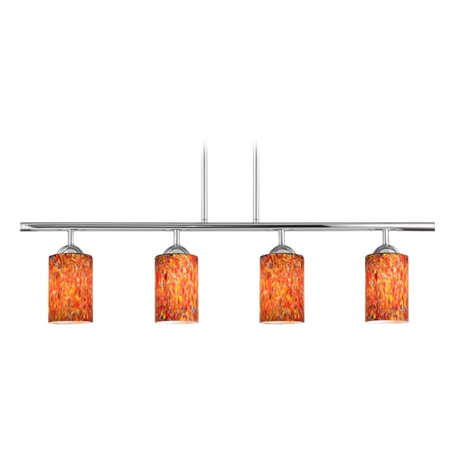 Design Classics Lighting Modern Island Light with Multi-Color Glass in Chrome Finish 718-26 GL1012C