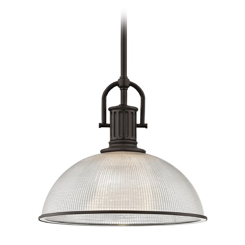 Design Classics Lighting Farmhouse Industrial Prismatic Glass Pendant Light Bronze 13.13-Inch Wide 1764-220 G1780-FC R1780-220