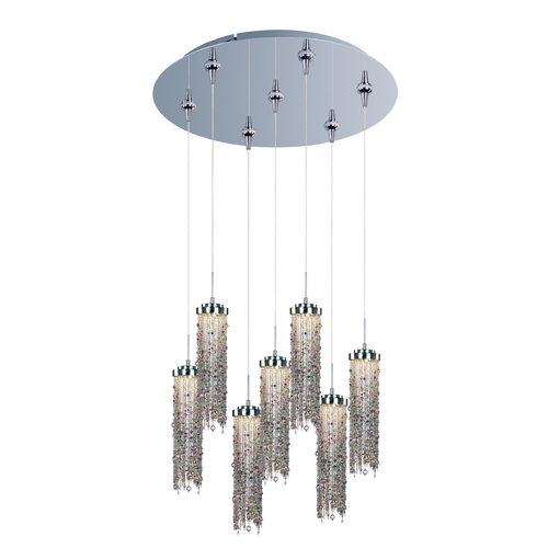 ET2 Lighting Modern LED Multi-Light Pendant Light with Multi-Color Glass and 7-Lights E95190-148PC