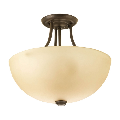 Progress Lighting Modern Pendant Light with Beige / Cream Glass in Antique Bronze Finish P3427-20WB