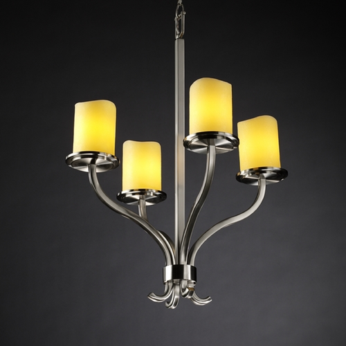 Justice Design Group Justice Design Group Candlearia Collection Chandelier CNDL-8780-14-AMBR-NCKL