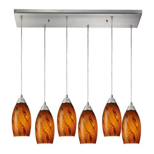 Elk Lighting Modern Multi-Light Pendant Light with Brown Glass and 6-Lights 20001/6RC-BG