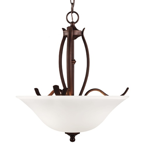 Feiss Lighting Feiss Lighting Standish Oil Rubbed Bronze with Highlights Pendant Light with Bowl / Dome Shade F3003/3ORBH