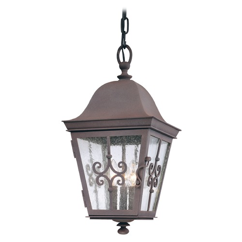 Troy Lighting Outdoor Hanging Light with Clear Glass in Weathered Bronze Finish F2358WB