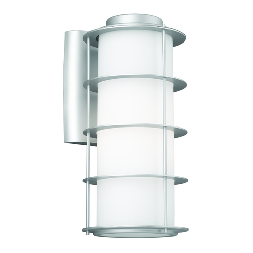 Philips Lighting Modern Outdoor Wall Light with White Glass in Vista Silver Finish F848841