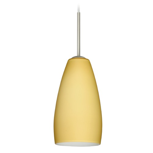 Besa Lighting Besa Lighting Chrissy Satin Nickel Mini-Pendant Light with Oblong Shade 1BT-1509VM-SN