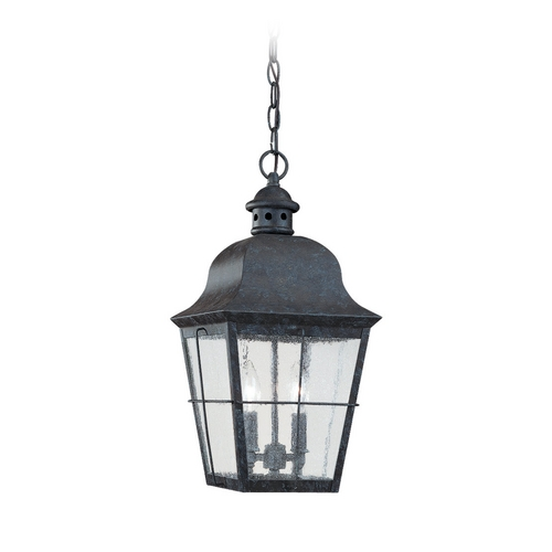 Sea Gull Lighting Outdoor Hanging Light with Clear Glass in Oxidized Bronze Finish 6062-46