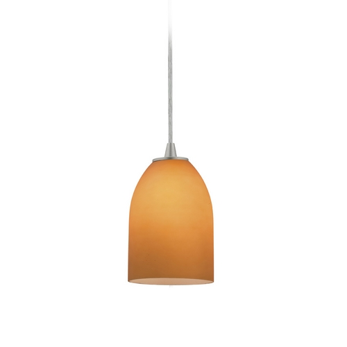Access Lighting Modern Mini-Pendant Light with Amber Glass 28018-2C-BS/AMB