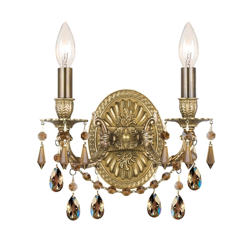 Crystorama Lighting Crystal Sconce Wall Light in Aged Brass Finish 5522-AG-GTS