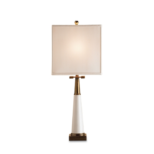 Currey and Company Lighting Table Lamp with White Shade in White/antique Brass Finish 6442