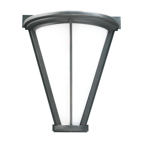 PLC Lighting Modern Outdoor Wall Light with White Glass in Oil Rubbed Bronze Finish 31765 ORB