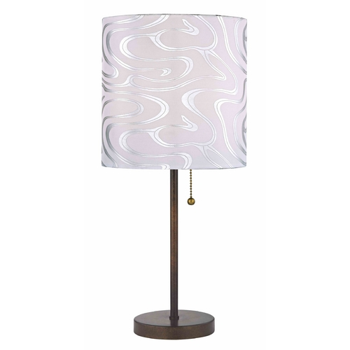 Design Classics Lighting Pull-Chain Table Lamp with Silver Patterned Drum Shade 1900-604 SH9495