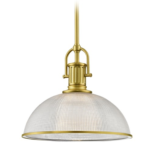 Design Classics Lighting Farmhouse Industrial Brass Pendant Light Prismatic Glass 13.13-Inch Wide 1764-12 G1780-FC R1780-12