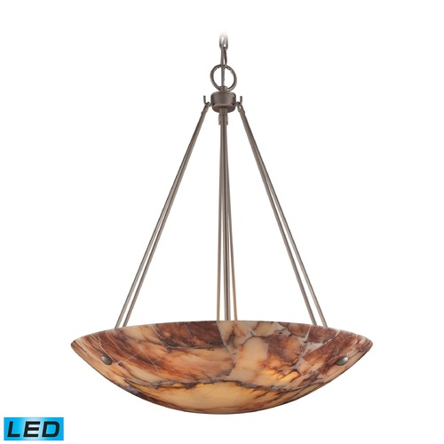 Elk Lighting Elk Lighting Marbled Stone Matte Nickel LED Pendant Light with Bowl / Dome Shade 9025/6-LED