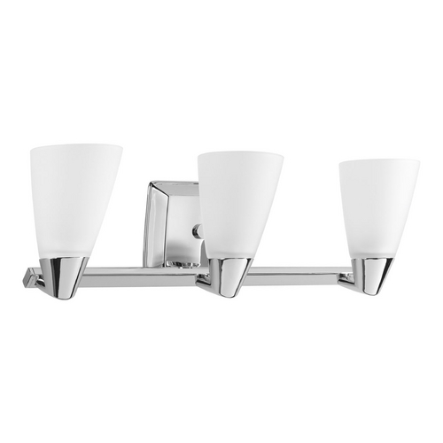 Progress Lighting Progress Bathroom Light with White Glass in Polished Chrome Finish P2807-15