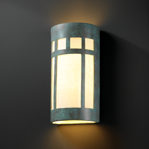 Justice Design Group Outdoor Wall Light with White in Verde Patina Finish CER-7357W-PATV