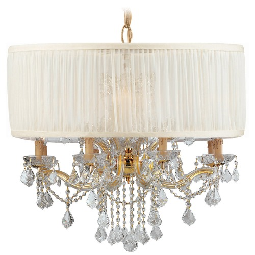 Crystorama Lighting Crystorama Lighting Brentwood Gold Pendant Light with Drum Shade 4489-GD-SAW-CLS