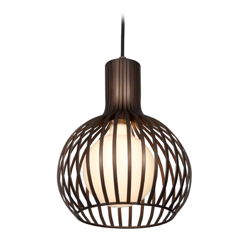 Access Lighting Access Lighting Chuki Black Mini-Pendant Light with White Shade 23437-BL