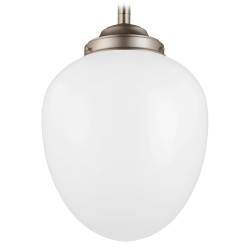Feiss Lighting Feiss Alcott Satin Nickel LED Pendant Light with Oval Shade P1402SN-LED