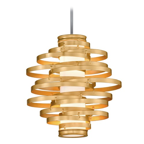 Corbett Lighting Corbett Lighting Vertigo Gold Leaf LED Pendant Light with Cylindrical Shade 225-42