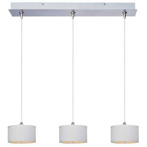 ET2 Lighting Modern Low Voltage Multi-Light Pendant Light with White Shades and 3-Lights E95496-100SN