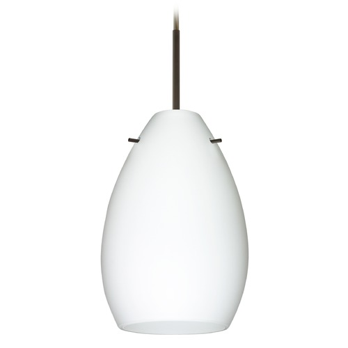 Besa Lighting Besa Lighting Pera Bronze Mini-Pendant Light with Oval Shade 1BT-171307-BR