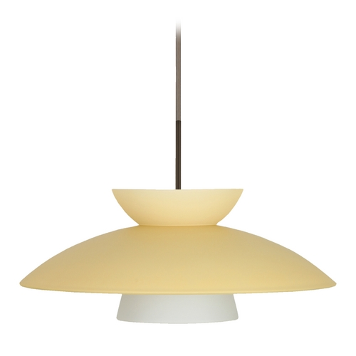 Besa Lighting Modern Pendant Light with Yellow Glass in Bronze Finish 1JT-451397-BR