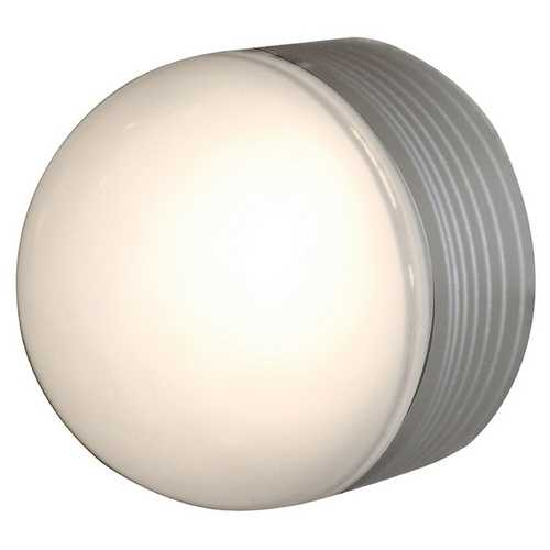 Access Lighting Modern Outdoor Wall Light with White Glass in Satin Nickel Finish 20337MG-SAT/FST