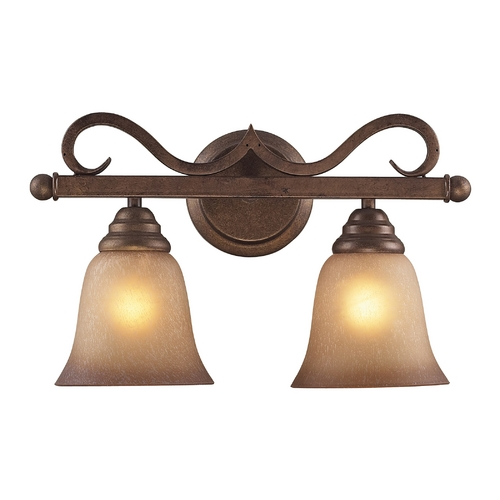 Elk Lighting Bathroom Light with Amber Glass in Mocha Finish 9321/2