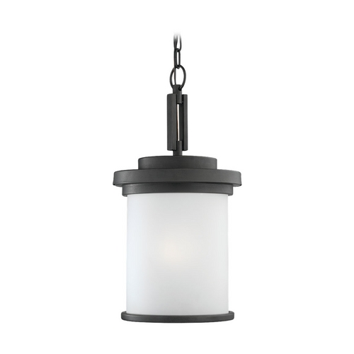 Sea Gull Lighting Modern Outdoor Hanging Light with Clear Glass in Forged Iron Finish 60660-185