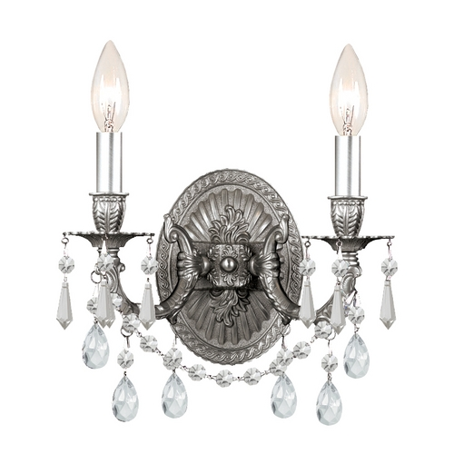 Crystorama Lighting Crystal Sconce Wall Light in Pewter Finish 5522-PW-CL-MWP