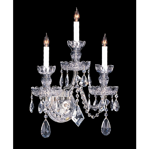 Crystorama Lighting Crystal Sconce Wall Light in Polished Chrome Finish 1143-CH-CL-MWP