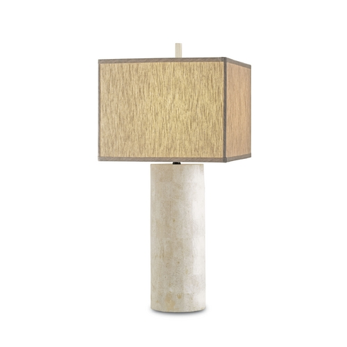 Currey and Company Lighting Modern Table Lamp with Beige / Cream Shade in Natural Finish 6441