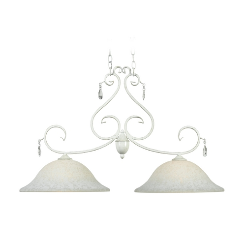 Kenroy Home Lighting Island Light with Clear Glass in Weathered White Finish 92048WW