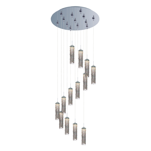 ET2 Lighting Modern LED Multi-Light Pendant Light with Multi-Color Glass and 13-Lights E95288-148PC