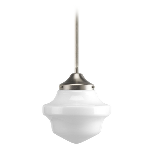 Progress Lighting Progress Schoolhouse Mini-Pendant Light with White Glass P5196-09
