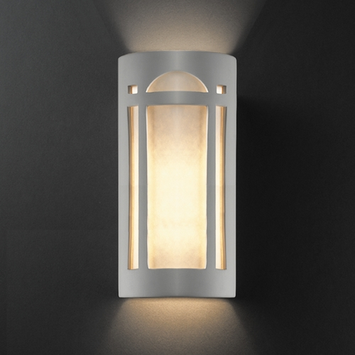 Justice Design Group Outdoor Wall Light with White in Bisque Finish CER-7397W-BIS