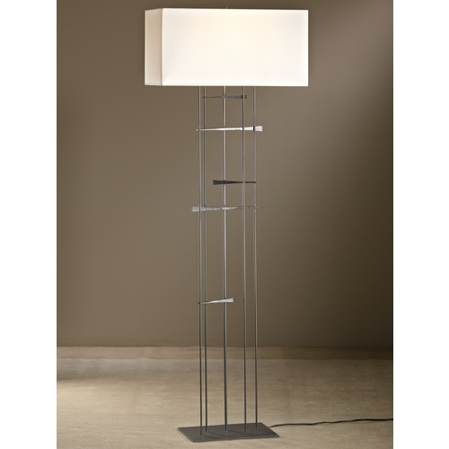Hubbardton Forge Lighting Hubbardton Forge Lighting Cavaletti Burnished Steel Floor Lamp with Rectangle Shade 237670-08-851