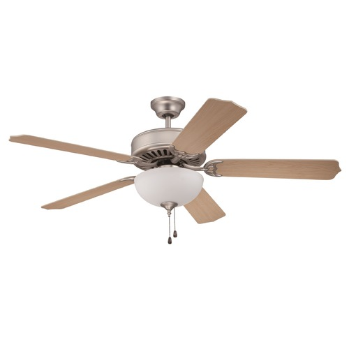 Craftmade Lighting Craftmade Pro Builder 201 Brushed Satin Nickel Ceiling Fan with Light K10624