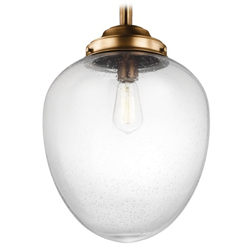 Feiss Lighting LED Schoolhouse Pendant Light Seeded Glass Brass 12.5-Inch Wide by Feiss Lighting P1403AGB-LED