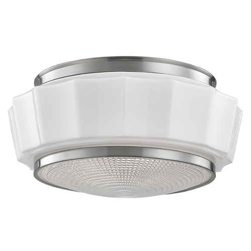 Hudson Valley Lighting Odessa 2 Light Flushmount Light Drum Shade - Satin Nickel 3814F-SN