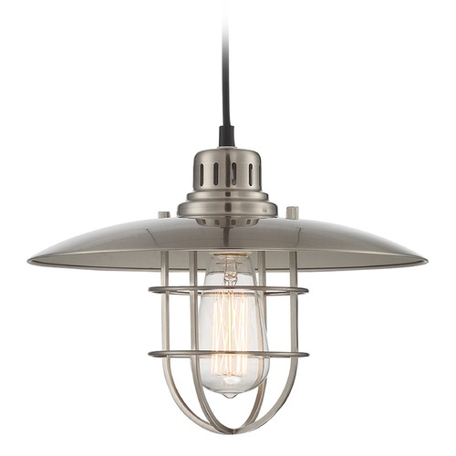 Lite Source Lighting Lite Source Polished Steel Pendant Light with Coolie Shade LS-18456PS