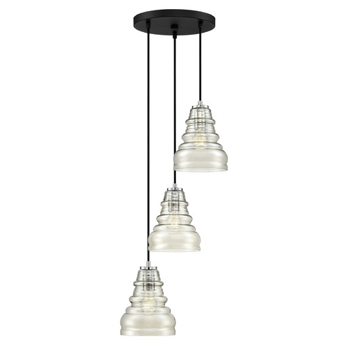 Quoizel Lighting Earth Black 3-Light Multi-Light Pendant with Smoke Shade PPY2703EK